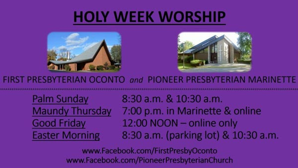 holy week announcements